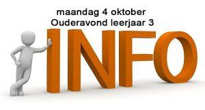 maandag 4 oktober - ouderavond leerjaar 3